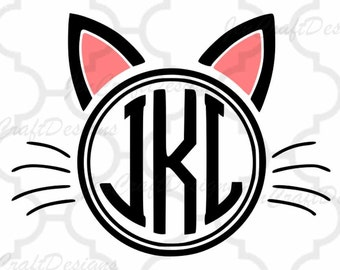 Cat Ears SVG Monogram Frame SVG, EPS, Dxf, Png cut Files,Vector Art, Cricut, Silhouette, Heat Transfer Cut File