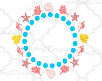 Seashells Embroidery Monogram Frame Sea Ocean Instant Download digital file in  EXP, HUS, Jef, Pes, Vip and Xxx