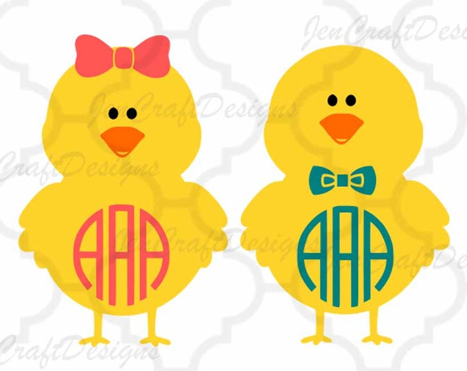Chicks Monogram Frame SVG, EPS,Dxf, Png Monogram Easter Cut Files for Silhouette studio, Cricut Design Space