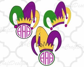 Mardi Gras svg Mardi Gra Jester Crown New Orleans Svg Cuttable Design Frame Monogram SVG EPS Png DXF, Cricut Design Space, Silhouette Studio