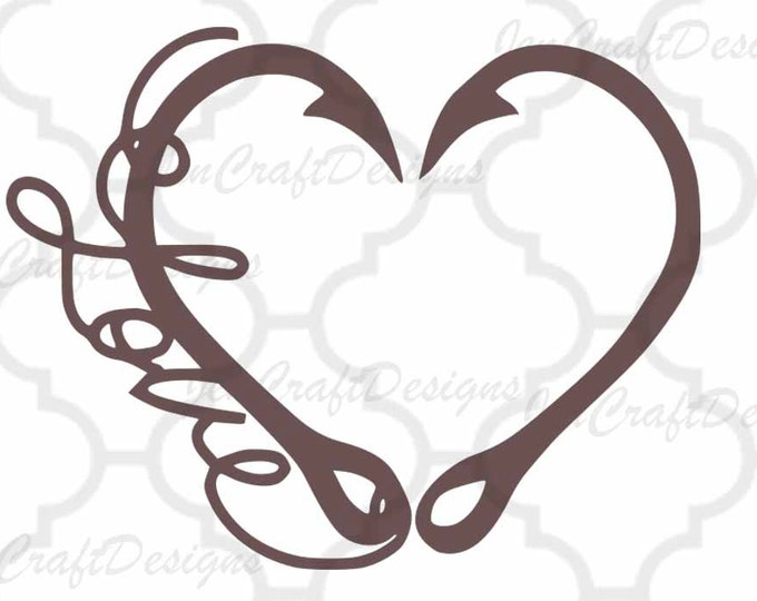 Interlocking Hook svg Heart Love Cutting File Set in Svg, eps, dxf and PNG Format for Cricut and Silhouette, Hunting Fishing