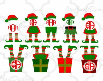 Elf Legs SVG Monogram Frame Christmas Design Digital Clipart Cut File Png SVG Eps Dxf Instant Download Silhouette Cameo Cricut Design Space