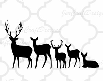 Deer Family Set SVG Cut Files Svg, Png, Dxf and Eps Cricut Design Space and Silhouette Studio. Vinyl Car Decal.