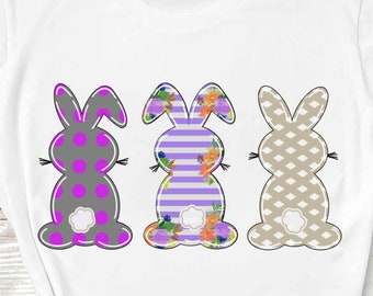 Easter png bunny Trio clipart, Three bunny Trio clipart, Easter clipart, Bunny rabbit clipart, floral png file sublimation printing