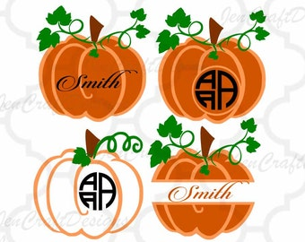 Fall Pumpkin Frames SVG, DXF, EPS, Png circle monogram cutting files. for use with Silhouette Studio and Cricut Design Space.