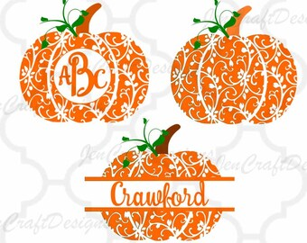 Fall Pumpkin SVG, DXF, EPS Pdf circle monogram Frame cutting files. Floral pattern, for use with Silhouette Cricut. Halloween Thanksgiving