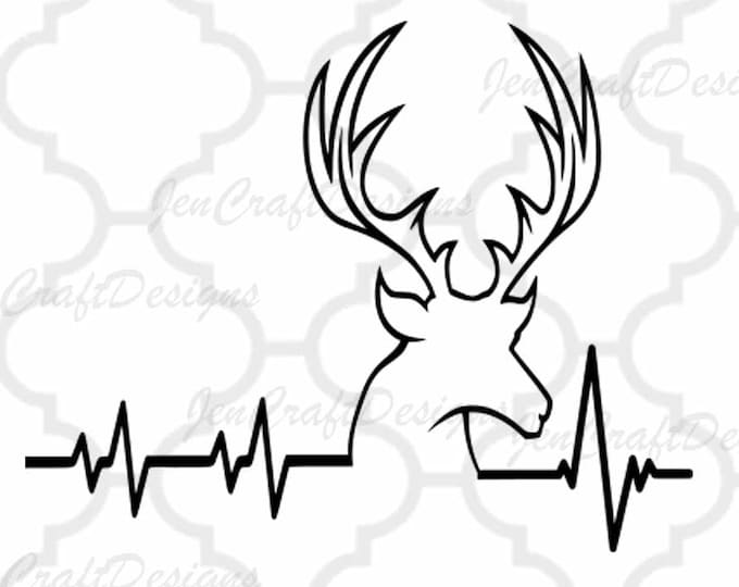 Deer SVG Cutting File, Hunting Svg Heartbeat Buck Svg, Png, Eps,Dxf Files, Vector Art, Cricut DS, Silhouette Studio,  Cut Files