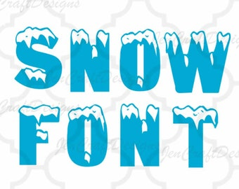 Snow Monogram SVG Font Alphabet, Svg Fonts, Cricut Fonts, Svg Dxf Eps Cricut, Silhouette, Digital Cut Files, Instant Download