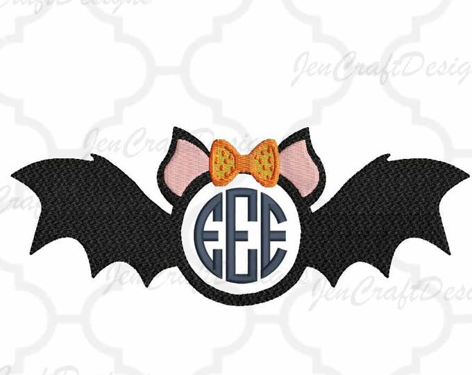 Bat Girl Monogram Frame Embroidery Halloween, Fall Instant Download digital file in  EXP, HUS, Jef, Pes, Vip and Xxx