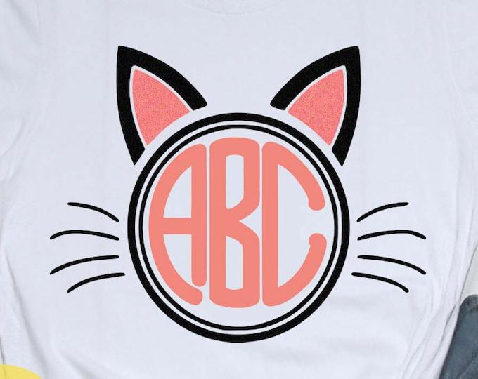 Cat Ears SVG Monogram Frame SVG, EPS, Dxf, Png cut Files,Vector Art, Cricut, Silhouette, Heat Transfer Cut File