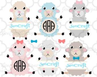 Lamb SVG, Easter SVG Monogram Frames svg, Sheep svg, Baby, Nursery, Easter Basket Monogram split Frames Svg Dxf Eps Silhouette Cricut