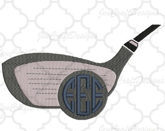 Golf Club Embroidery Design Monogram Frame, Instant Download digital file in PES, EXP, VIP, Hus, Xxx and Jef