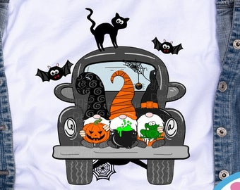 Halloween Gnomes svg, fall witch gnome, gnome truck, svg, gnomes, witch gnome svg, eps, dxf, png cut file sublimation print file