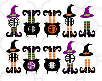 Witch Svg, Halloween Design Witch Legs in Cauldron Monogram Frame Digital Clipart and Cut File Png SVG EPS DXF Instant Download