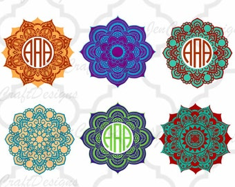 Mandala Pattern Circle Monogram Frame, Indian Boho svg Spring Frames svg dxf eps jpg svg ai png monogram Frame svg cut files