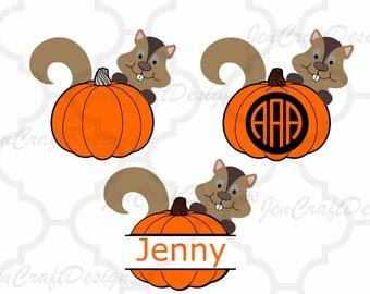 Pumpkin Monogram Frame SVG,EPS, Png, Dxf, Cricut,  Autumn Squirrel Silhouette, Vinyl Cutters Screen Printing Layered Cut Files,