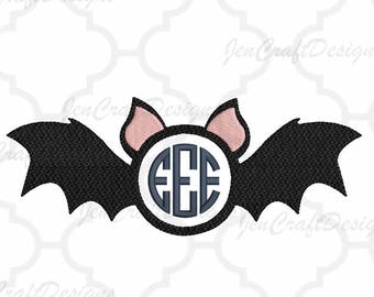 Bat boy Monogram Frame Embroidery Halloween, Fall Instant Download digital file in EXP, HUS, Jef, Pes, Vip and Xxx