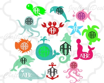 Sea Life SVG Sea Life Monogram Frames Seashell Starfish Octopus Nautical Seahorse Ocean Svg,Dxf,Eps,png,jpg Cricut Design Space, Silhouette,