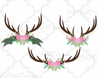 Antler svg floral swag svg Autumn Cutting File Set Svg, eps, dxf and PNG Format for Cricut and Silhouette, Hunting Fishing, Print, clipart