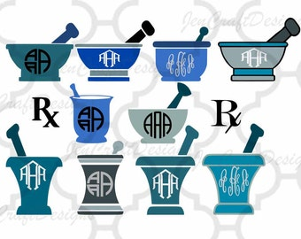RX Pharmacy Mortar And Pestle Doctor Nurse RN Monogram Frame SVG Eps Png Dxf, cut file Cricut Design Space, Silhouette Digital Cut Files