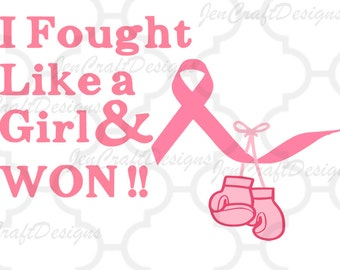 Fought like a girl & won Cancer Ribbon SVG boxing gloves SVG Cuttable,  SVG, Dxf, Eps, Png Cricut, Silhouette