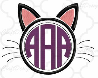 Cat Ears Embroidery Monogram Frame INSTANT DOWNLOAD digital file in Exp, Hus, Jef, Pes, Vip and Xxx