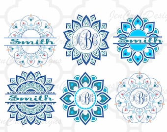 Ethnic Mandala SVG Pattern Circle Monogram Frame, Indian Boho svg Zentangle svg dxf eps svg silhouette3 png Cricut, Silhouette cut files