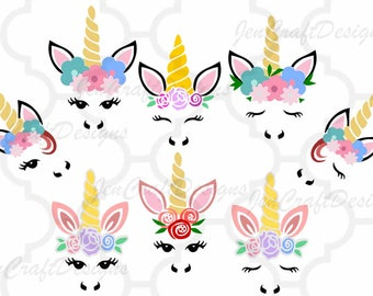 Unicorn svg, Unicorn face svg bundle, Gold Horn unicorn, Floral Unicorn Head Features eyelashes, SVG, DXF, Eps, Png Cricut, Silhouette