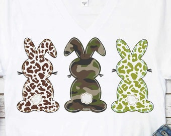 Easter png Boy bunny sublimation Camo Leopard Cheetah Three bunny Trio clipart, Easter clipart, Bunny rabbit png file sublimation printing