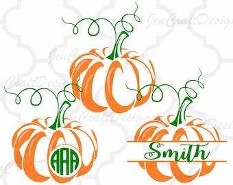 Pumpkin SVG Cut Files. Monogram Frame Fall Designs, Cricut Design Space, Silhouette Studio, Digital Cut Files Thanksgiving svg dxf, eps, png