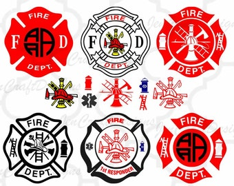 Firefighters Fire Designs Cuttable Bundle SVG EPS DXf cut file set, Printable Png, Cricut Design Space Silhouette Studio Digital Cut Files