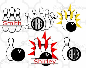 Bowling Svg, Bowling Monogram svg, Bowling Ball Split Svg, Eps, Dxf,studio Png cuttable files, transfer, clip art, Cricut, Silhouette