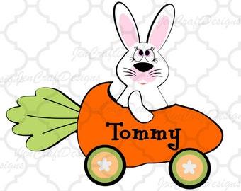 Bunny Rabbit Monogram Frame Svg Easter Carrot Car Circle Monogram SVG DXF Eps digital download Silhouette Cricut