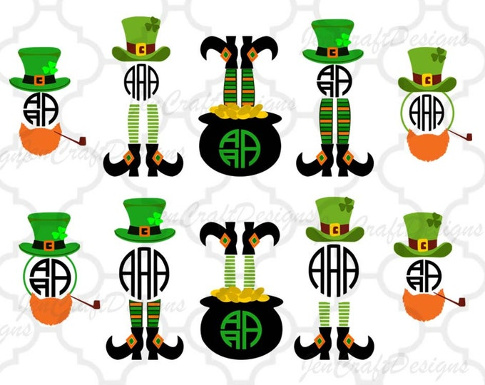 Leprechaun Legs SVG Monogram Cuttable Design, St Paddy's Day, St. Patrick's Day Monogram SVG Cut Design,svg,dxf,png Silhouette & Cricut