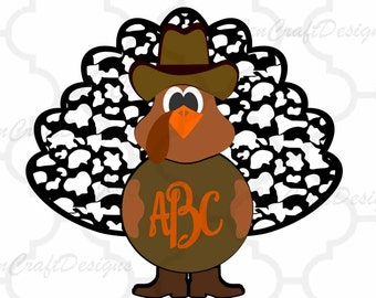 Fall Turkey Monogram Frame SVG, EPS, Png, DXF, Fall Cowboy Cut files for Cricut explore, Silhouette cameo, Vinyl Cutters  Layered Cut Files