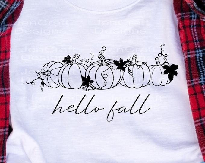 Hello Fall svg Thanksgiving svg pumpkin svg, autumn svg, Pumpkin patch, fall sayings Cut Files Cricut Silhouette SVG, Eps, Dxf PNG Sublimate