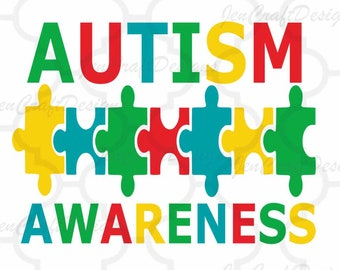 Autism Awareness SVG, DXF, EPS & Printable Png Puzzle Instant Download cutting files for use with Silhouette Studio and Cricut Design Space.