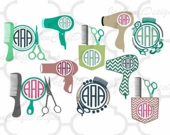 Hairdresser Hair dresser svg, Salon svg,Monogram Frames Svg cutting   file,beauty salon svg,Cricut Design Space, Silhouette Studio,Digital