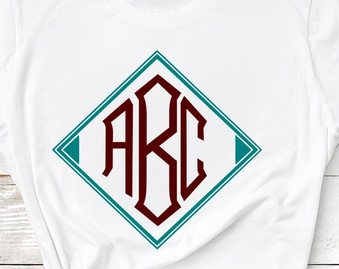 Diamond Monogram Font SVG EPS, DXF Cut Files with Free Frames A to Z Alphabet for Cameo, Cricut, and other electronic cutting machines
