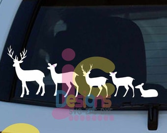 Deer Family SVG  Doe Buck baby deer Mom Dad son daughter Auto window decal design Svg, Png, Dxf, Eps Cricut Silhouette Sublimation Cut Files