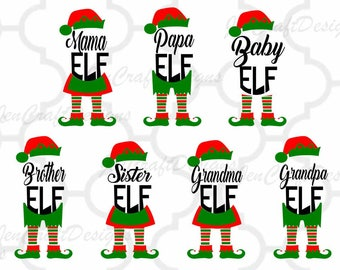Elf Family SVG, Papa, Mama, Baby,Grandma, Grandpa, Sister, Brother Elf Legs, Christmas SVG, Eps, Dxf, Printable clipart, Silhouette Cricut