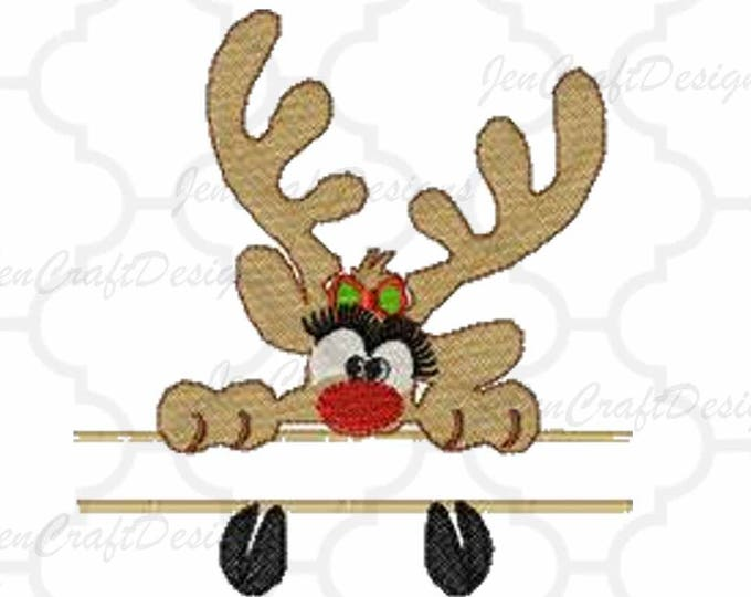 Girl Reindeer Split Peeking Embroidery Monogram Frame Design, 5x7, Instant Download digital file in PES, EXP, VIP, Hus, Xxx and Jef