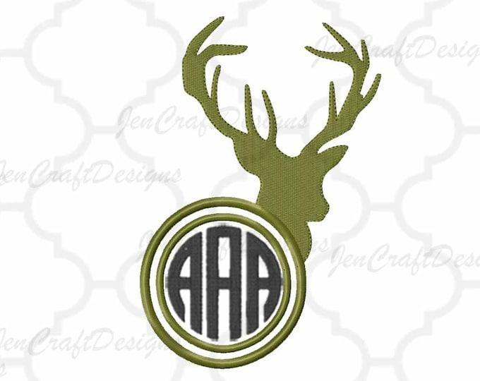 Deer Embroidery Design Monogram Frame, Antlers, Buck, Hunting,Instant Download digital file in PES, EXP, VIP, Hus, Xxx, Jef