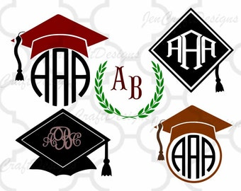 Graduation SVG, Graduation Cap SVG, Graduation Cap Cut Files, svg, dxf, ai, eps, png, jpg Graduation monogram frame, Graduation Hat Clipart