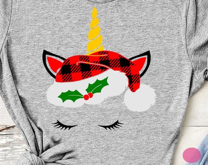 Christmas unicorn svg, Plaid Christmas svg unicorn eyelashes face head Christmas svg, EPS, DXF, girls Christmas, girls svg, digital download