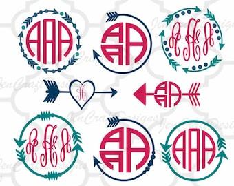 Arrow Monogram Frames Svg cutting file, SVG EPS Png DXF,studio 3, Cuttable Cricut Design Space, Silhouette Studio,Digital Cut Files