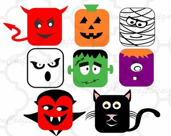 Monster Halloween Design Monster SVG, Eps, DXF, Png Frankenstein, Dracula, Ghost, Pumpkin Mummy face, Kids Cut file Silhouette, Cricut