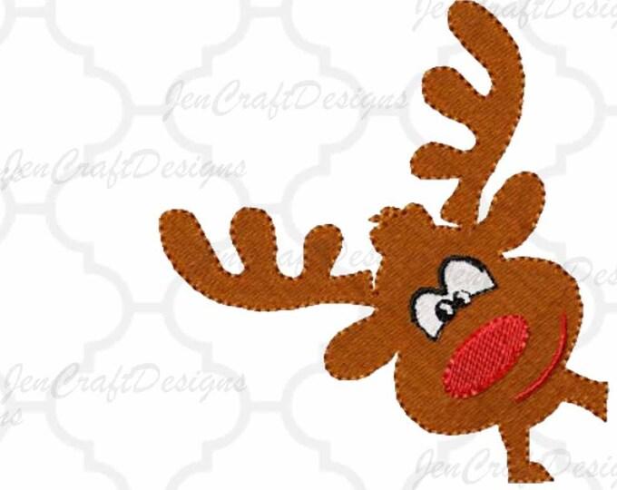 Boy Reindeer Corner peeking Embroidery Design, 4x4, 5x7, Instant Download digital file in PES, EXP, VIP, Hus, Xxx and Jef