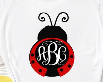 Lady Bug svg Summer svg Monogram SVG, Ladybug SVG, valentine svg, Mothers day Svg Summer beetle svg, dxf, ai, eps, png cut files, love frame