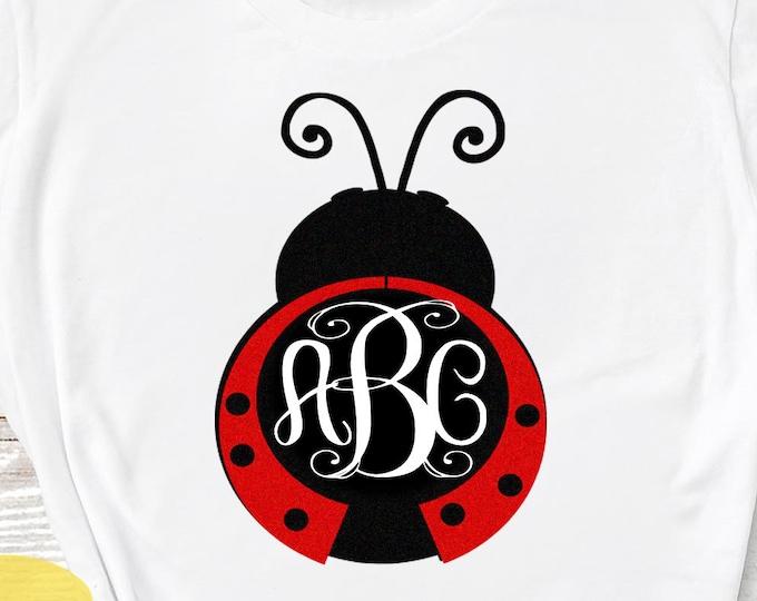 Lady Bug svg Summer svg Monogram SVG, Ladybug SVG, valentine svg, Mothers day Svg Summer beetle svg, dxf, ai, eps, png cut files, love frame